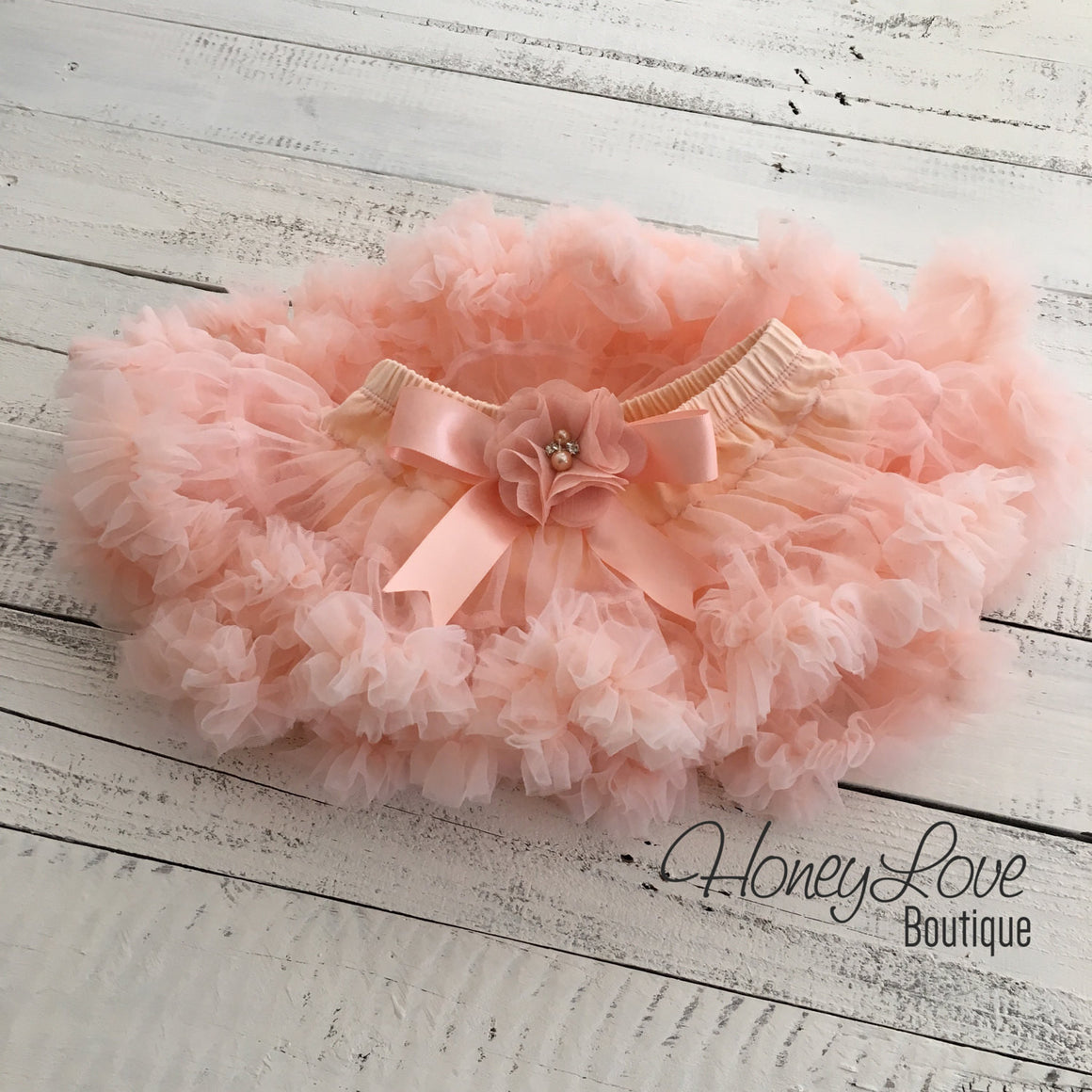 Peach Pettiskirt - embellished flower - HoneyLoveBoutique