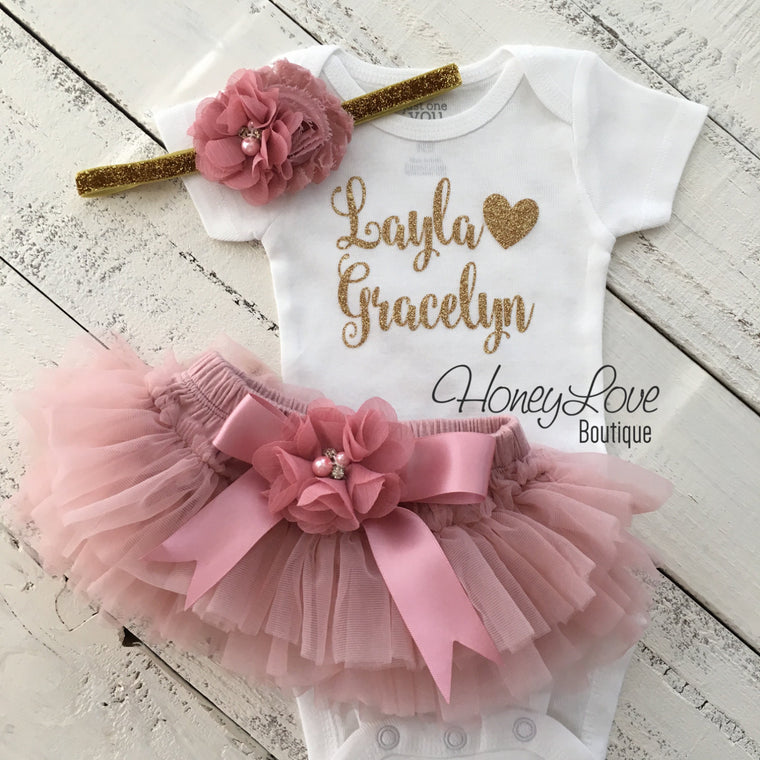 PERSONALIZED Name Outfit - Gold Glitter and Vintage Pink - Embellished tutu skirt bloomers - HoneyLoveBoutique