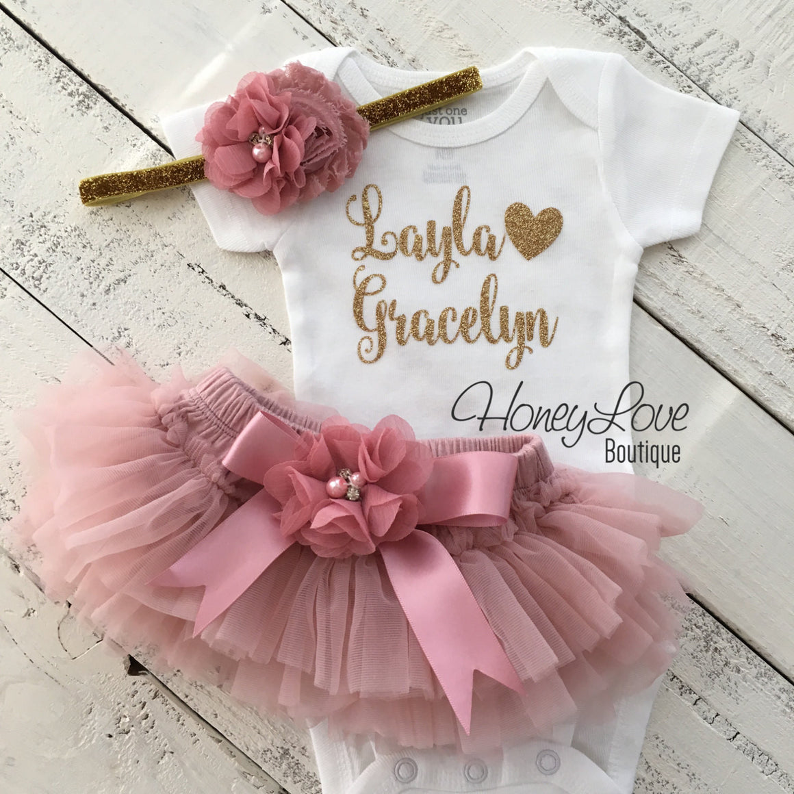 PERSONALIZED Name Outfit - Gold Glitter and Vintage Pink - Embellished tutu skirt bloomers