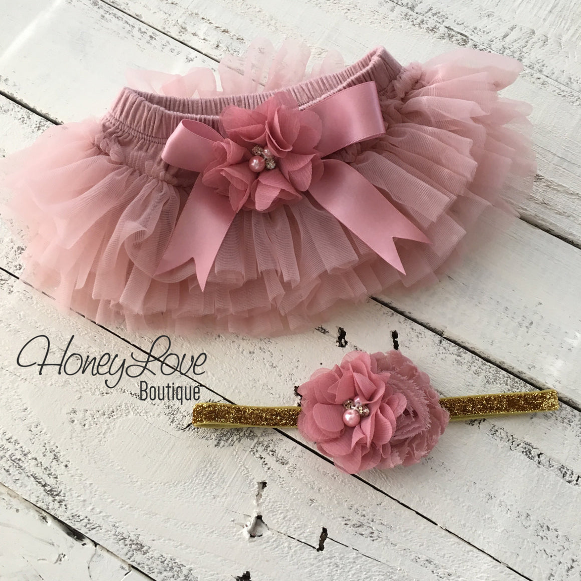 Vintage Pink tutu skirt bloomers and gold glitter headband - embellished bloomers - HoneyLoveBoutique