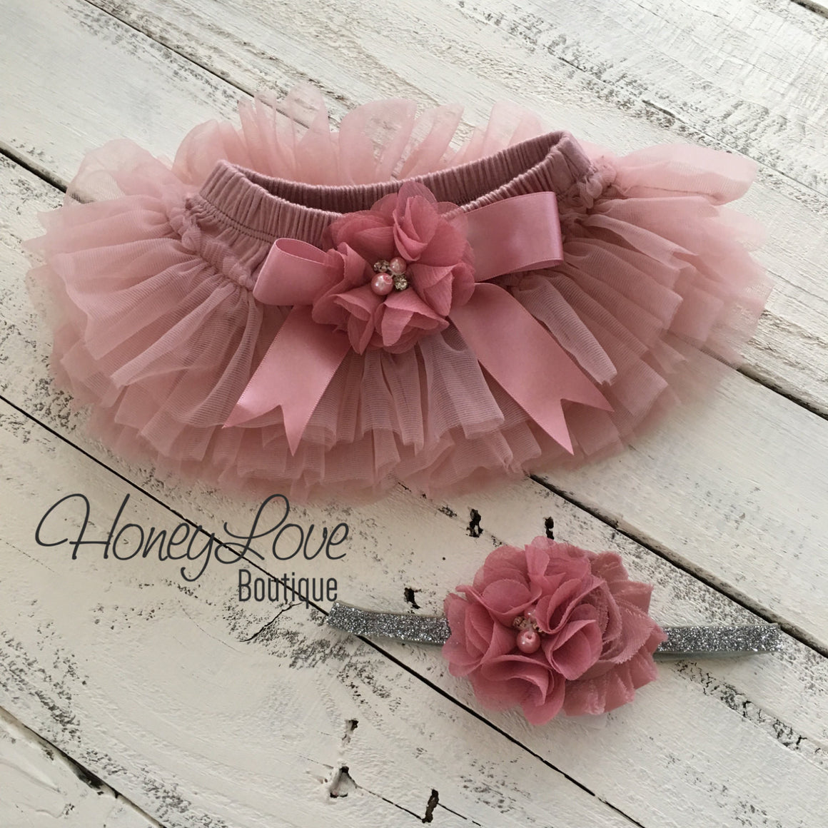 Vintage Pink tutu skirt bloomers and silver glitter headband - embellished bloomers - HoneyLoveBoutique