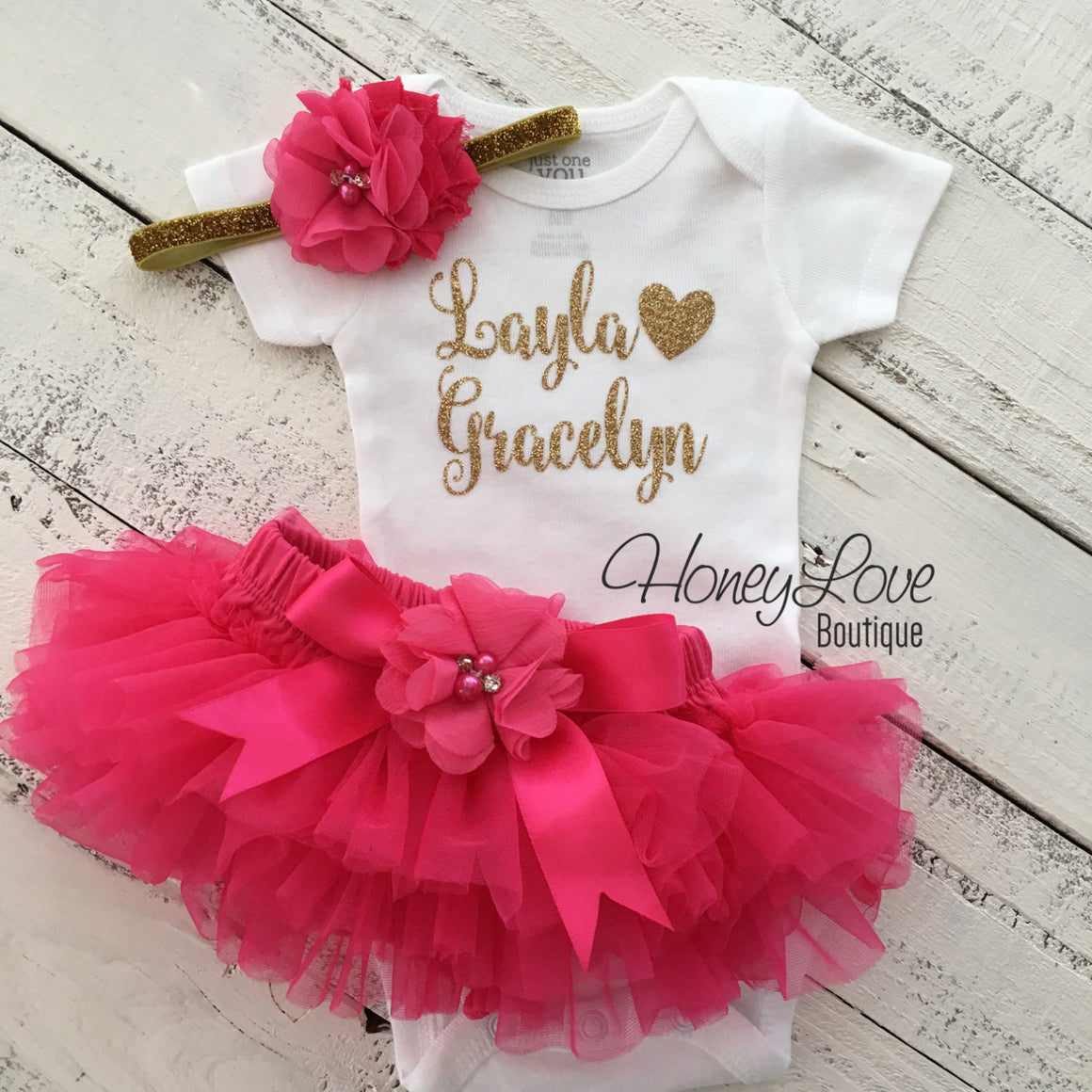 PERSONALIZED Name Outfit - Gold Glitter and Watermelon/Hot Pink - embellished bloomer - HoneyLoveBoutique