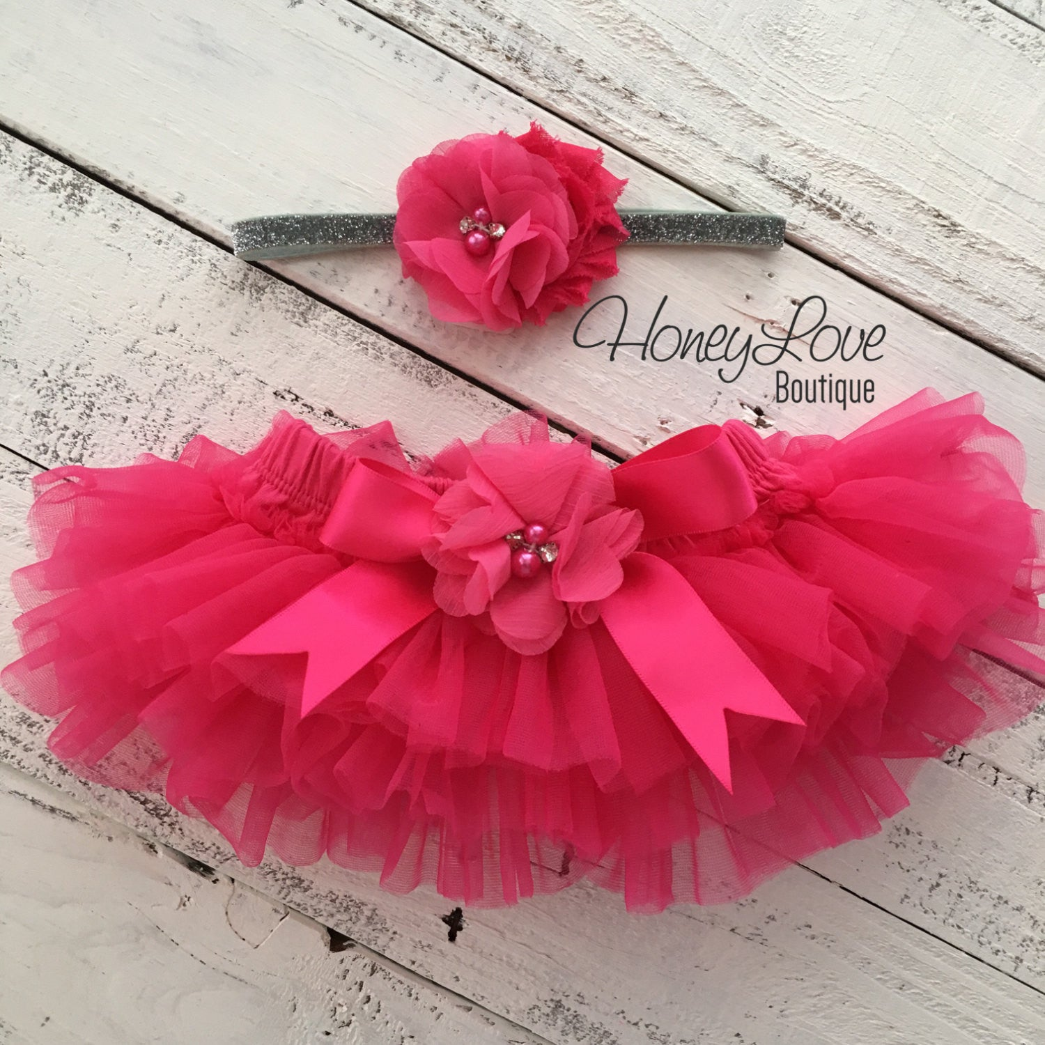 a874e4d364 ... Watermelon Pink tutu skirt bloomers and silver glitter headband - embellished  bloomer - HoneyLoveBoutique ...