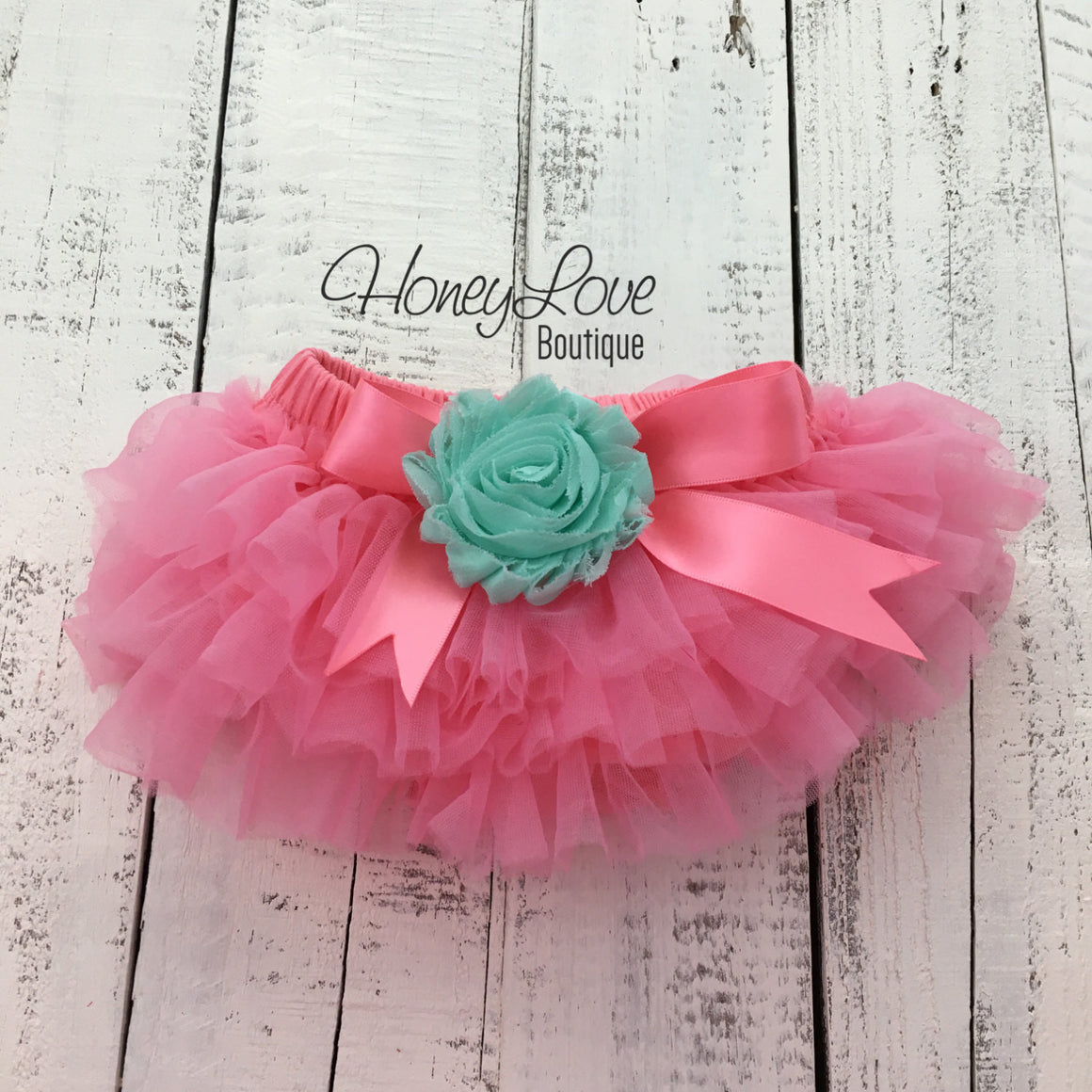 Coral Pink/Mint/Aqua Embellished tutu skirt bloomers - HoneyLoveBoutique