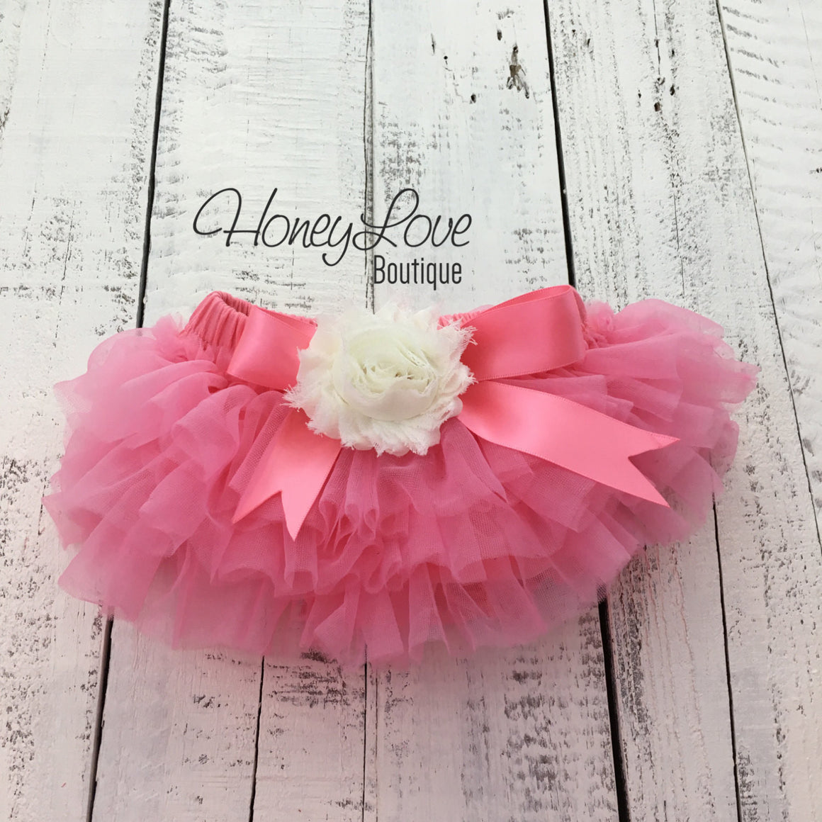 Coral Pink/Ivory Embellished tutu skirt bloomers - HoneyLoveBoutique