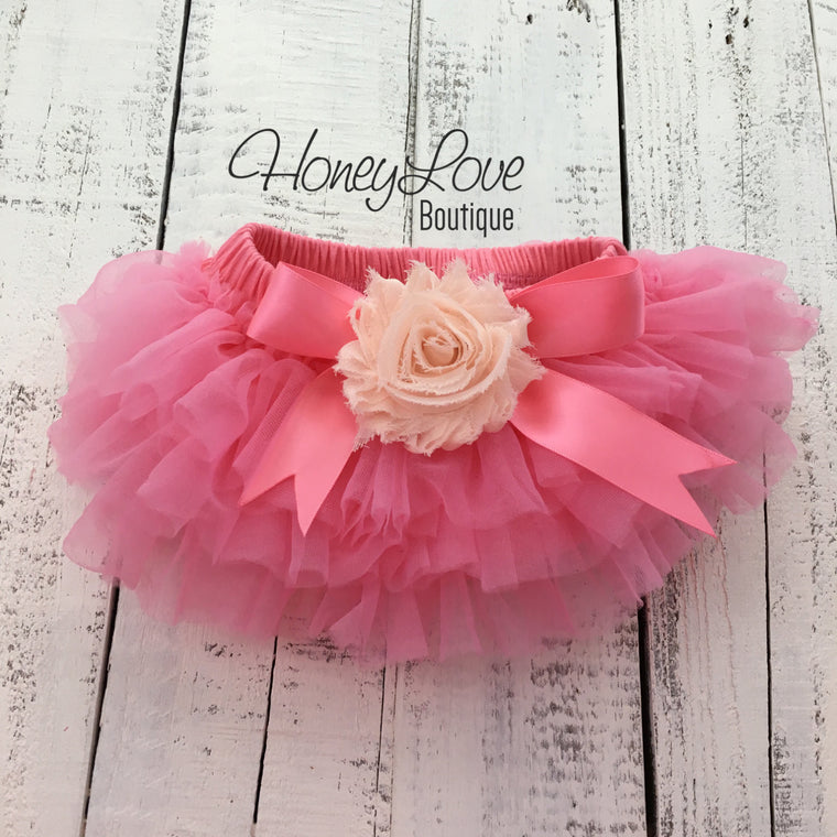 Coral Pink/Peach Embellished tutu skirt bloomers