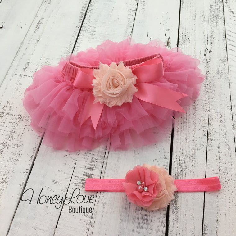 Coral Pink/Peach Embellished tutu skirt bloomers and headband