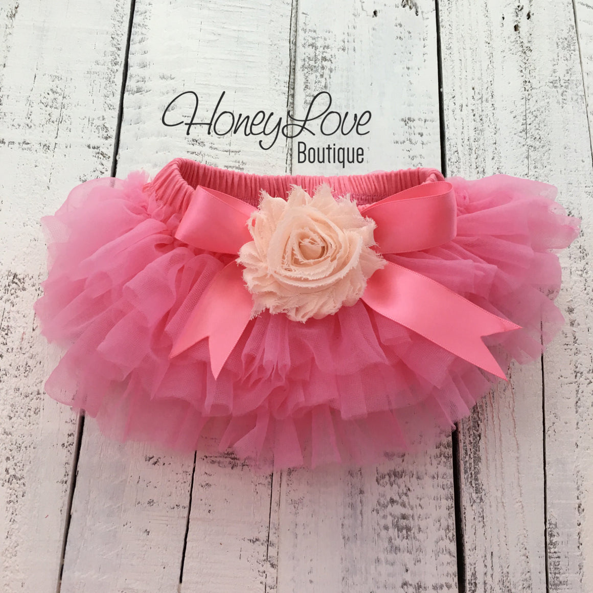 Coral Pink/Peach Embellished tutu skirt bloomers and headband - HoneyLoveBoutique