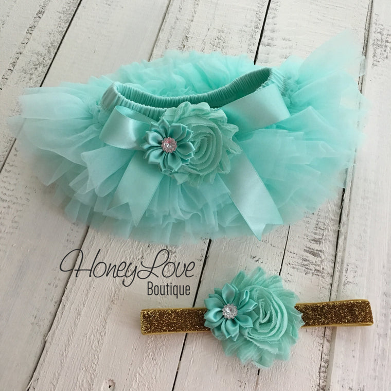 Mint/Aqua Embellished tutu skirt bloomers and gold glitter headband - HoneyLoveBoutique