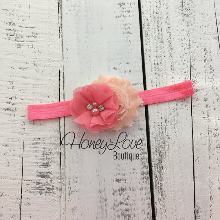 Coral Pink and Peach shabby chiffon flower headband