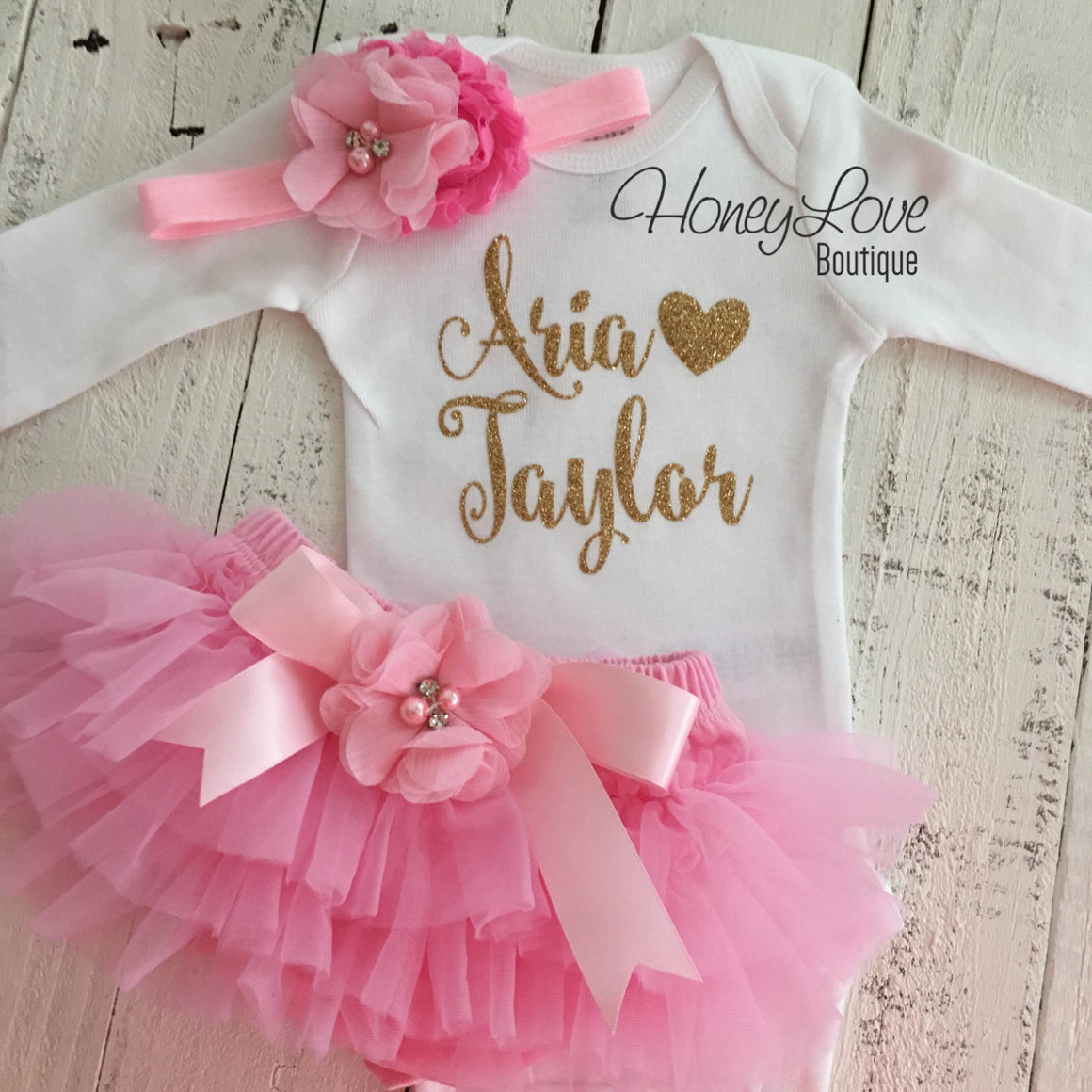 PERSONALIZED Name Outfit - Gold Glitter and Light Pink - Embellished bloomers