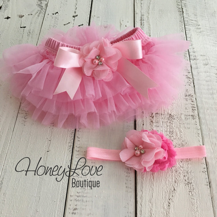 Light Pink tutu skirt bloomers and matching headband - Embellished bloomers