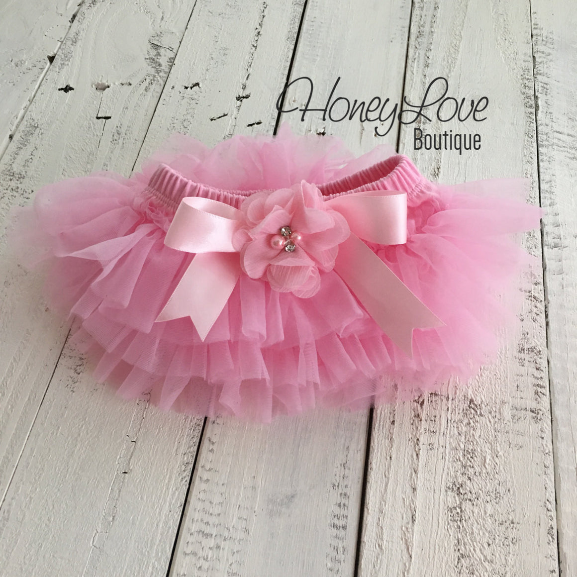 Light Pink tutu skirt bloomers and Light Pink/Bubblegum Pink flower headband - Embellished bloomers