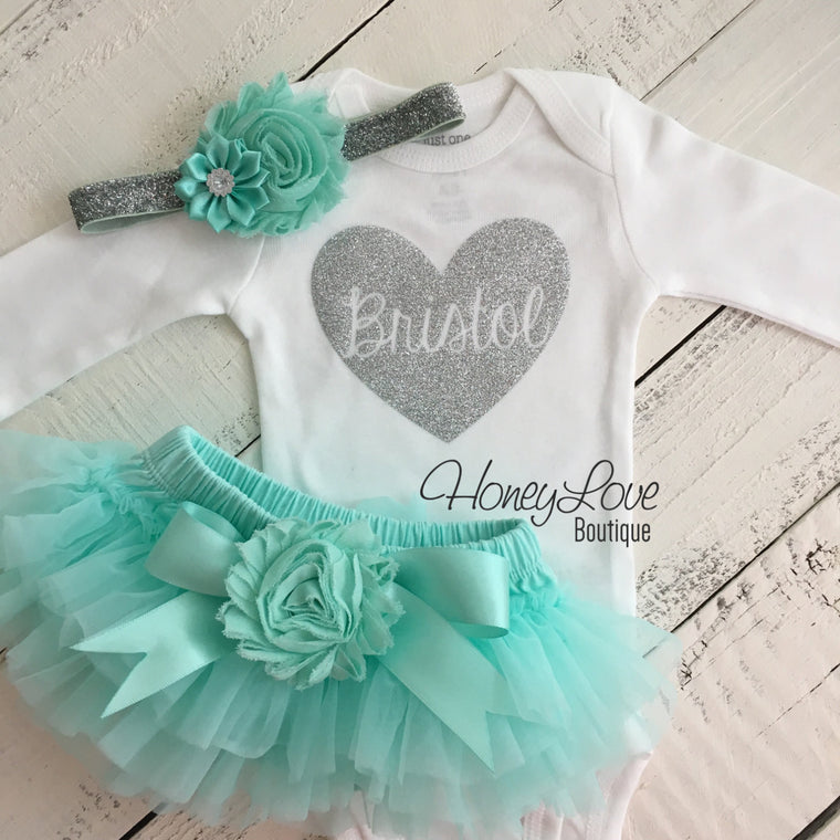 PERSONALIZED Name inside Heart - Silver Glitter and Mint/Aqua - Embellished tutu skirt bloomers