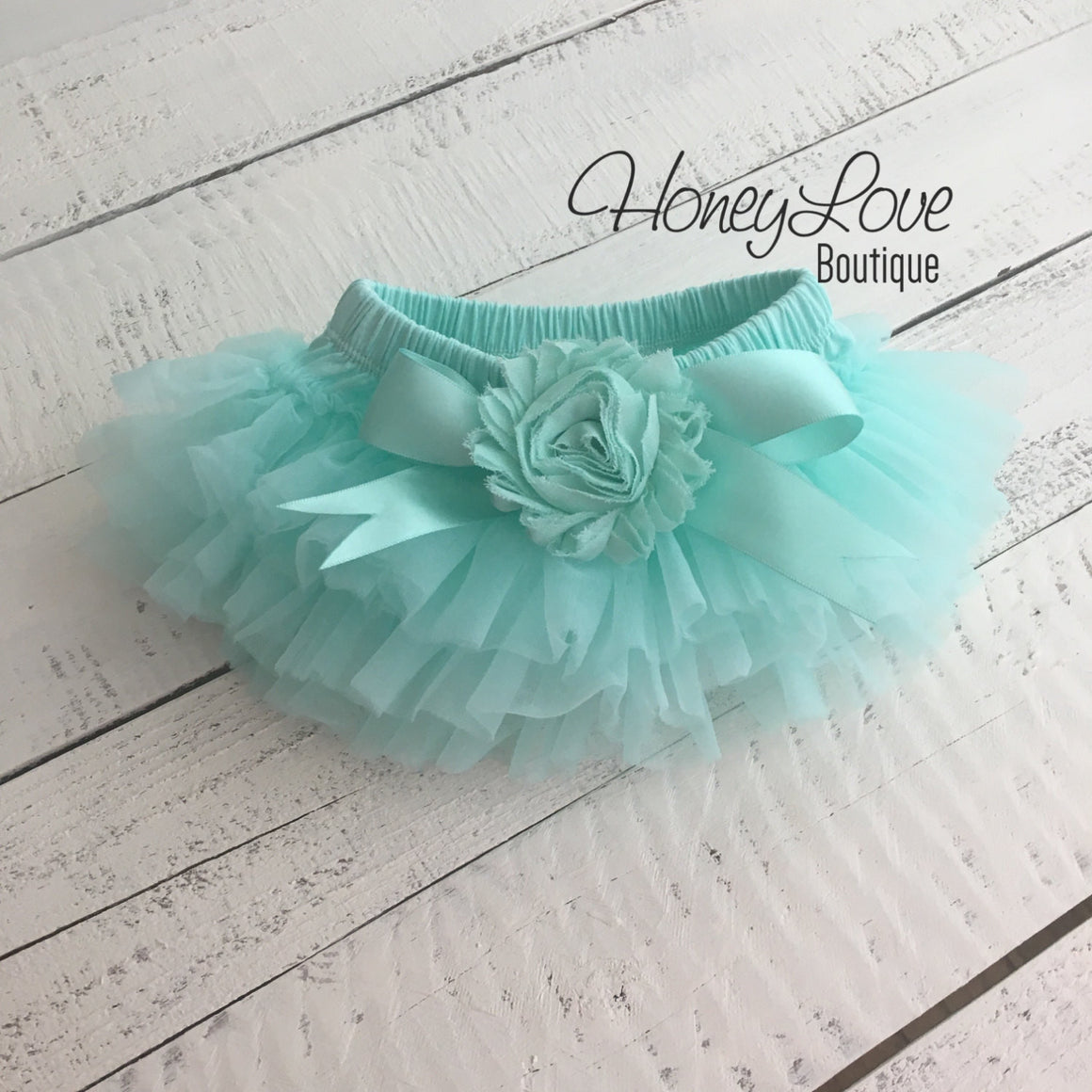 PERSONALIZED Name inside Heart - Silver Glitter and Mint/Aqua - Embellished tutu skirt bloomers - HoneyLoveBoutique