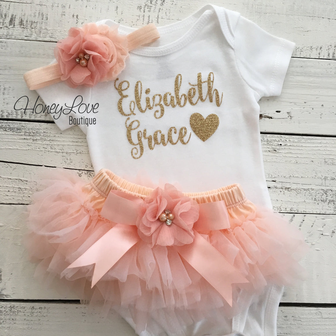 PERSONALIZED Name Outfit - Gold Glitter and Peach - embellished tutu skirt bloomers - HoneyLoveBoutique