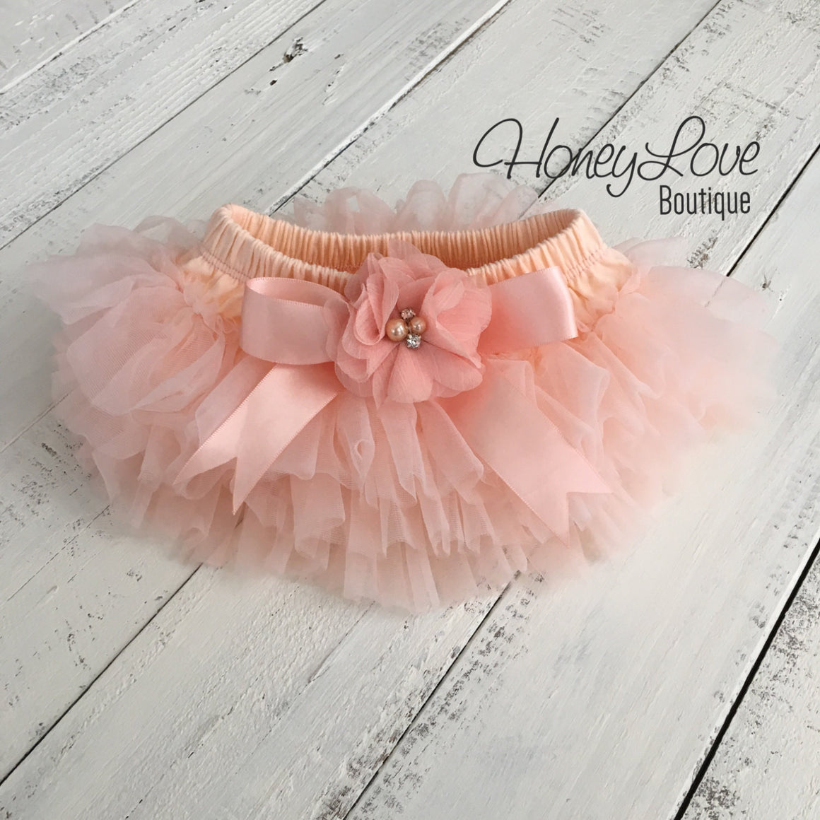 Peach tutu skirt bloomers and headband - Embellished bloomers - HoneyLoveBoutique