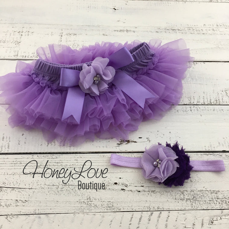 Lavender Purple tutu skirt bloomers and headband - Embellished bloomers