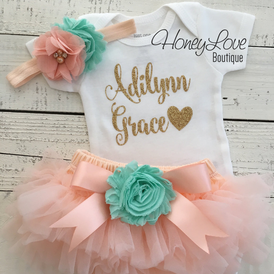 PERSONALIZED Name Outfit - Gold glitter and Peach/Mint/Aqua - embellished tutu skirt bloomers - HoneyLoveBoutique