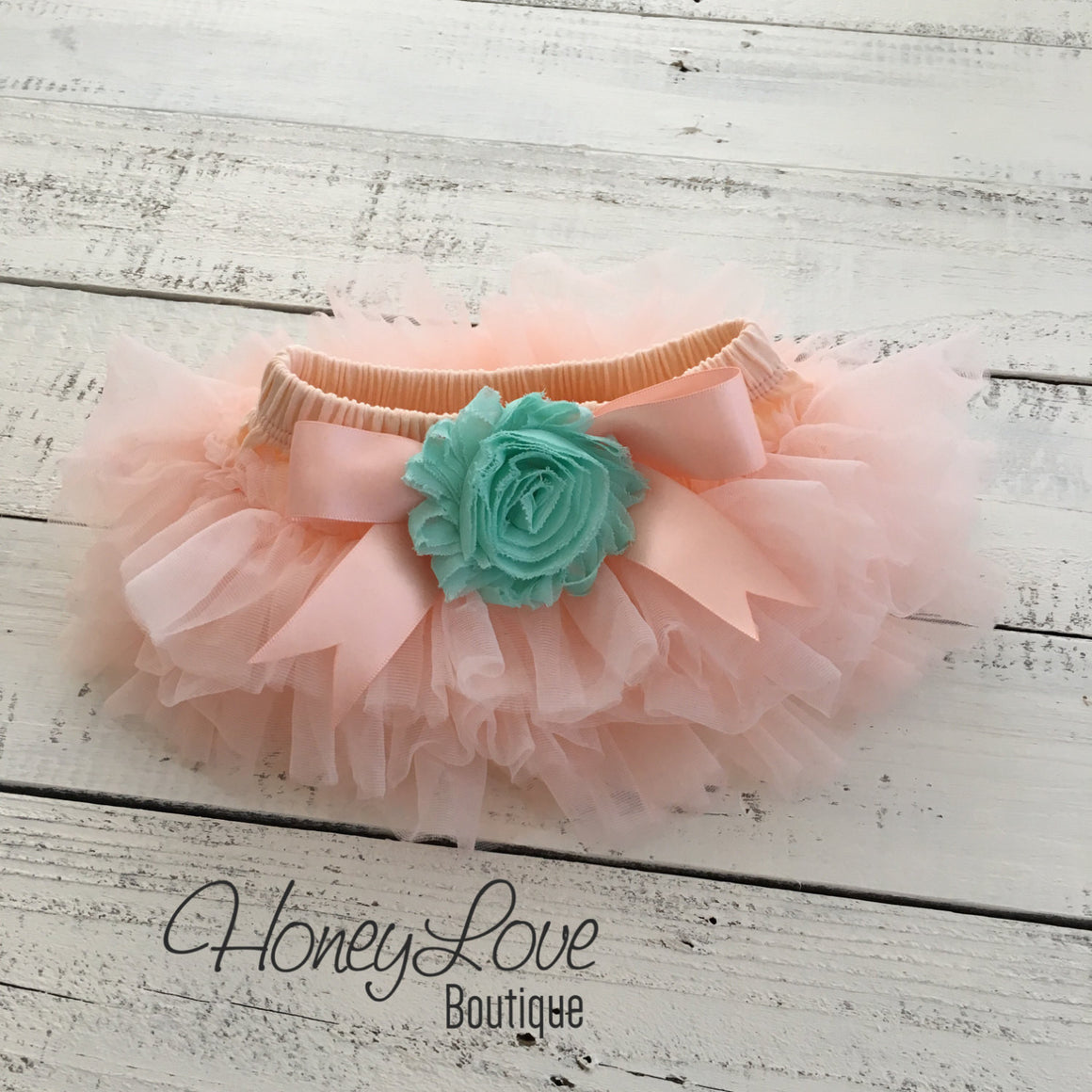 Peach and Mint/Aqua tutu skirt bloomers - Embellished bloomers - HoneyLoveBoutique