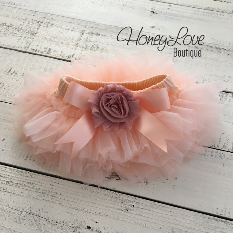 Peach and Vintage Pink tutu skirt bloomers - Embellished bloomers - HoneyLoveBoutique