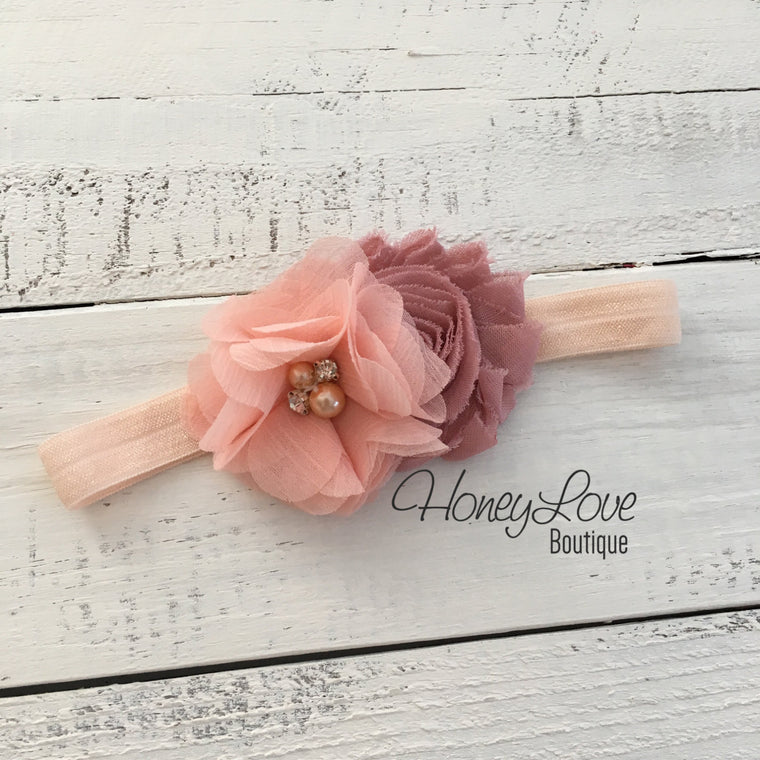 Peach and Vintage Pink shabby chiffon flower rhinestone/pearl headband - HoneyLoveBoutique