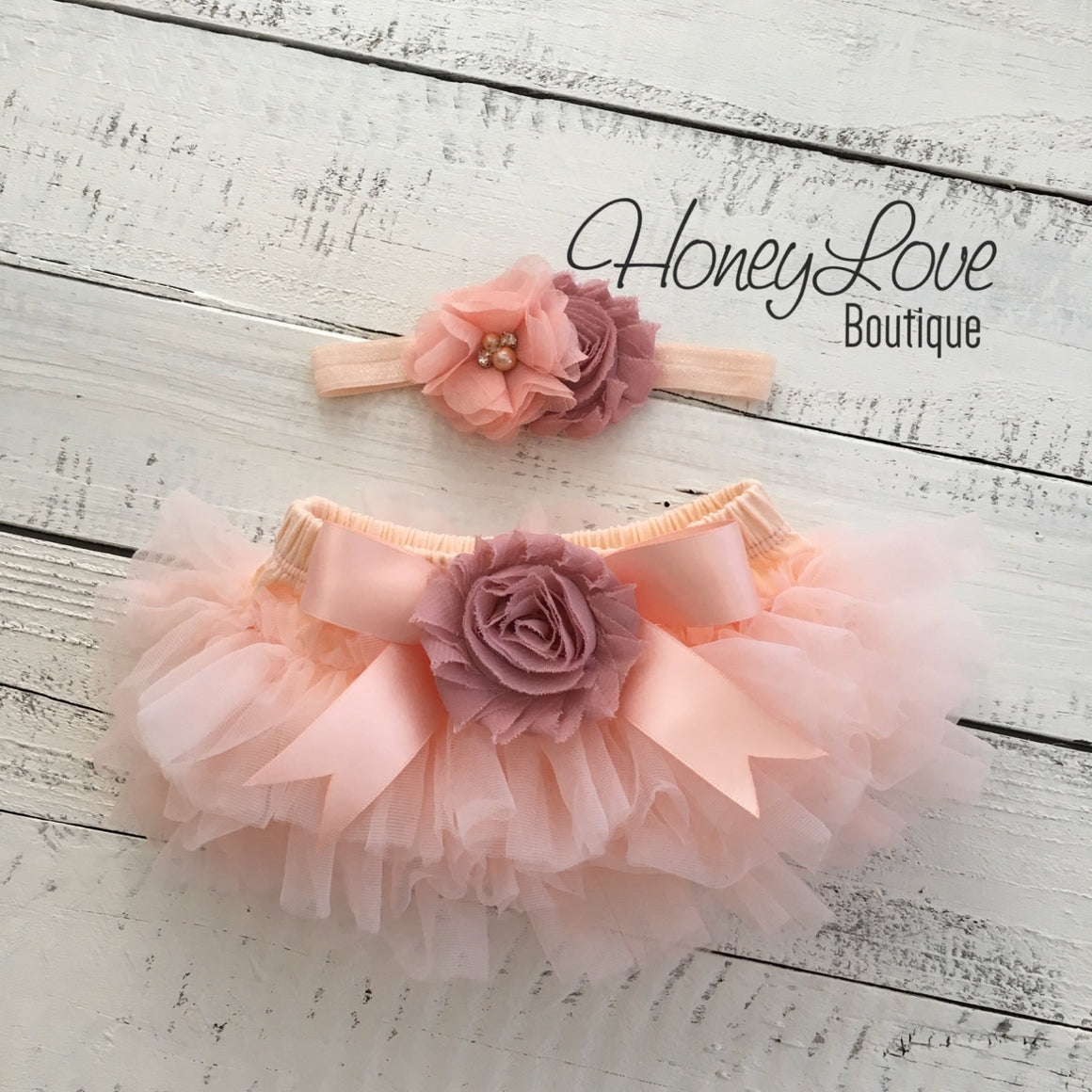 Peach and Vintage Pink tutu skirt bloomers and headband - Embellished bloomers - HoneyLoveBoutique