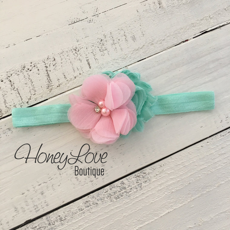 Mint/Aqua and Light Pink flower headband - HoneyLoveBoutique
