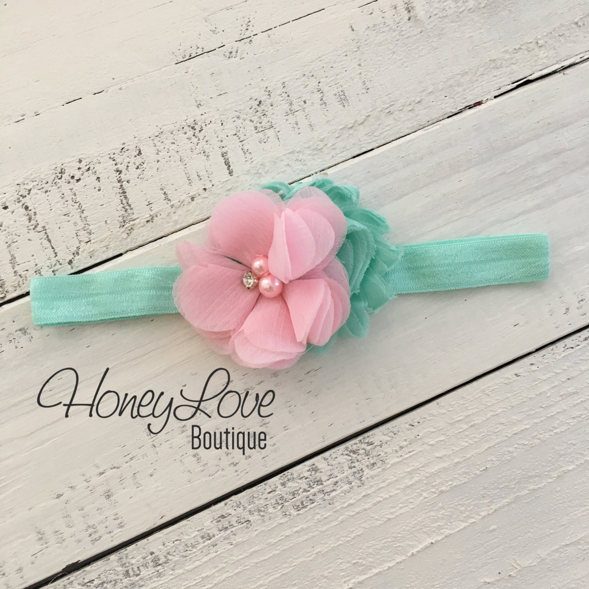 Mint/Aqua and Light Pink flower headband