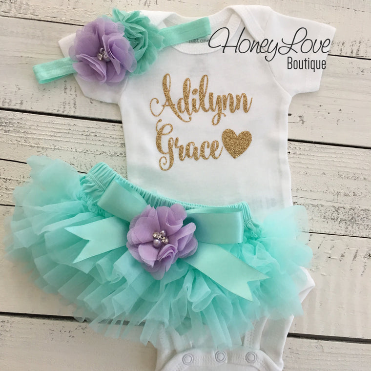 PERSONALIZED Mint/Aqua and Gold Glitter - Lavender Purple flower embellished tutu skirt bloomers - HoneyLoveBoutique