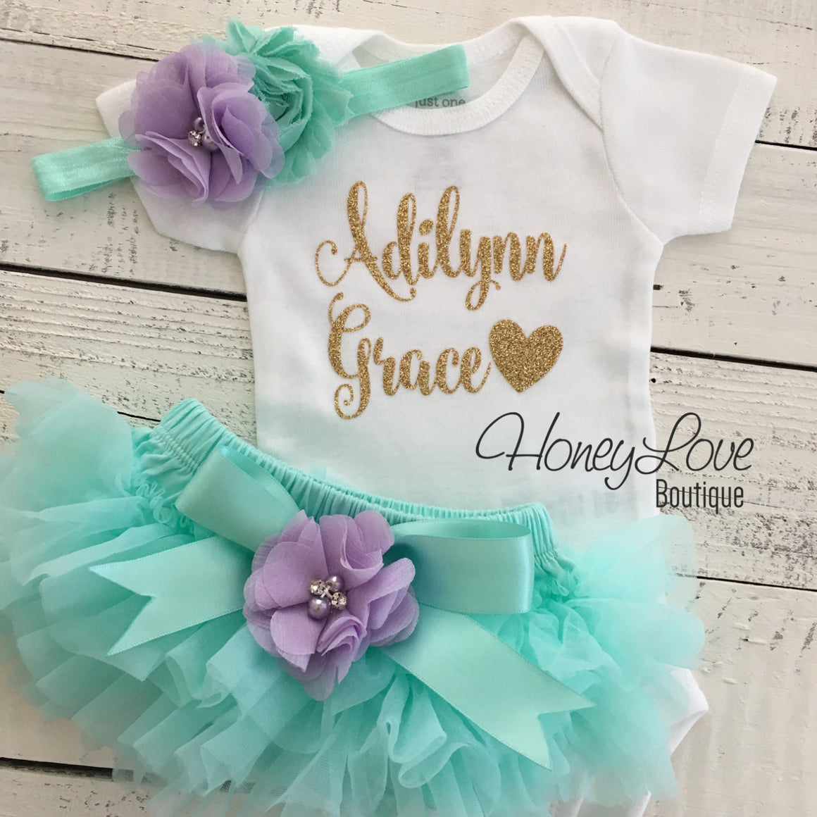 PERSONALIZED Name Outfit - Mint/Aqua and Gold Glitter - Lavender Purple flower embellished tutu skirt bloomers - HoneyLoveBoutique