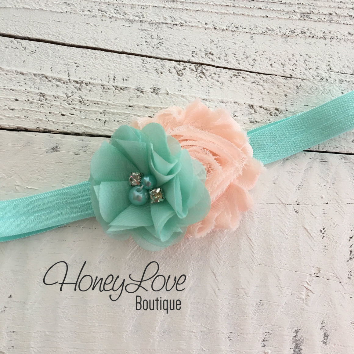 Mint/Aqua and Peach flower headband - HoneyLoveBoutique