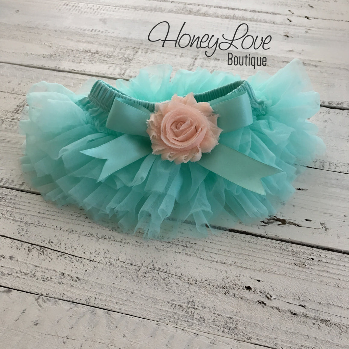 Mint/Aqua and Peach Embellished tutu skirt bloomers and headband - HoneyLoveBoutique