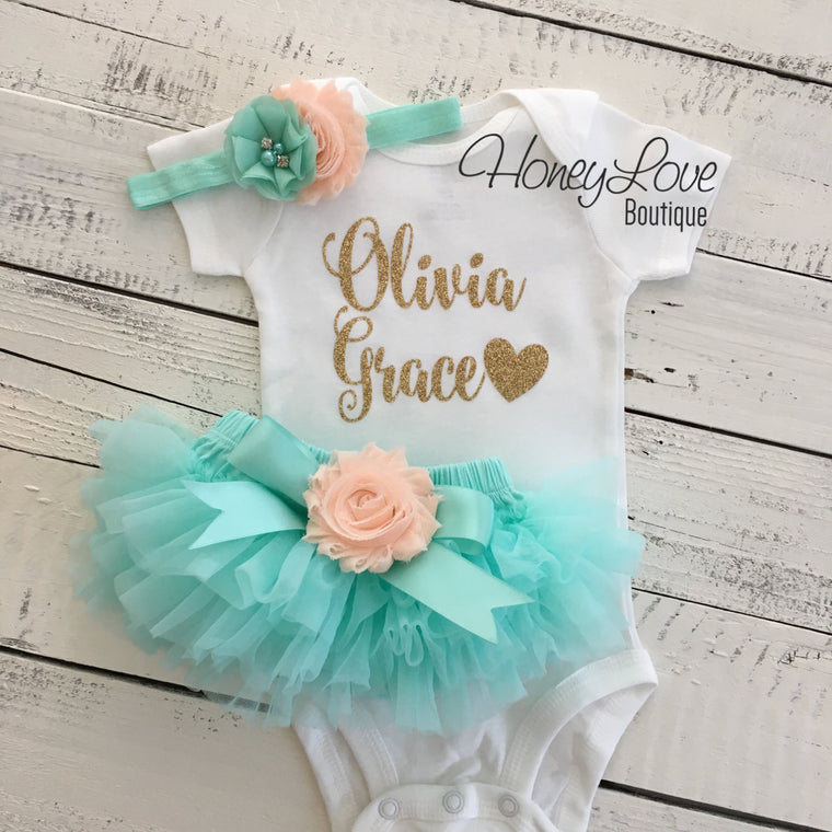 PERSONALIZED Mint/Aqua and Gold Glitter - Peach flower embellished tutu skirt bloomers