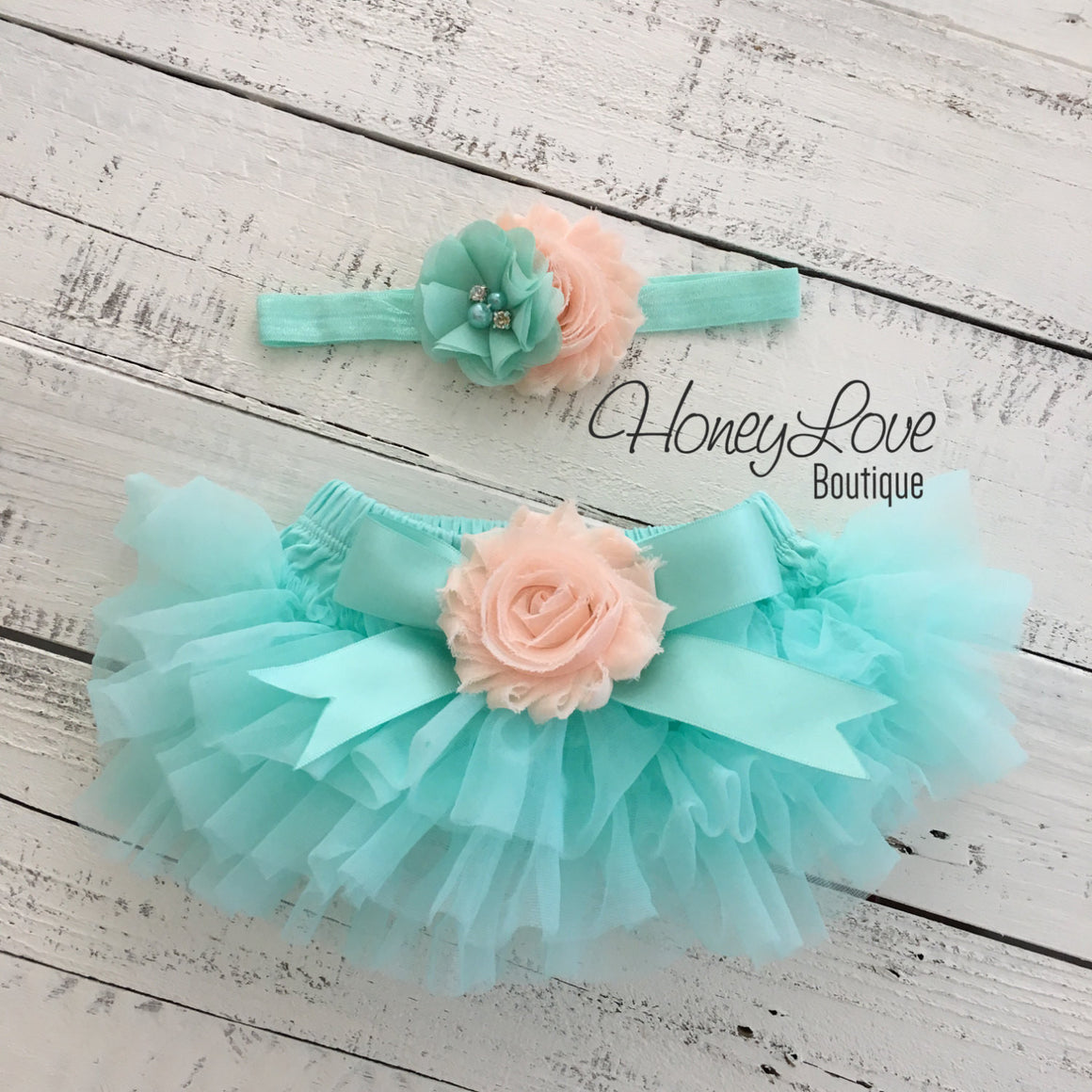 PERSONALIZED Mint/Aqua and Gold Glitter - Peach flower embellished tutu skirt bloomers - HoneyLoveBoutique
