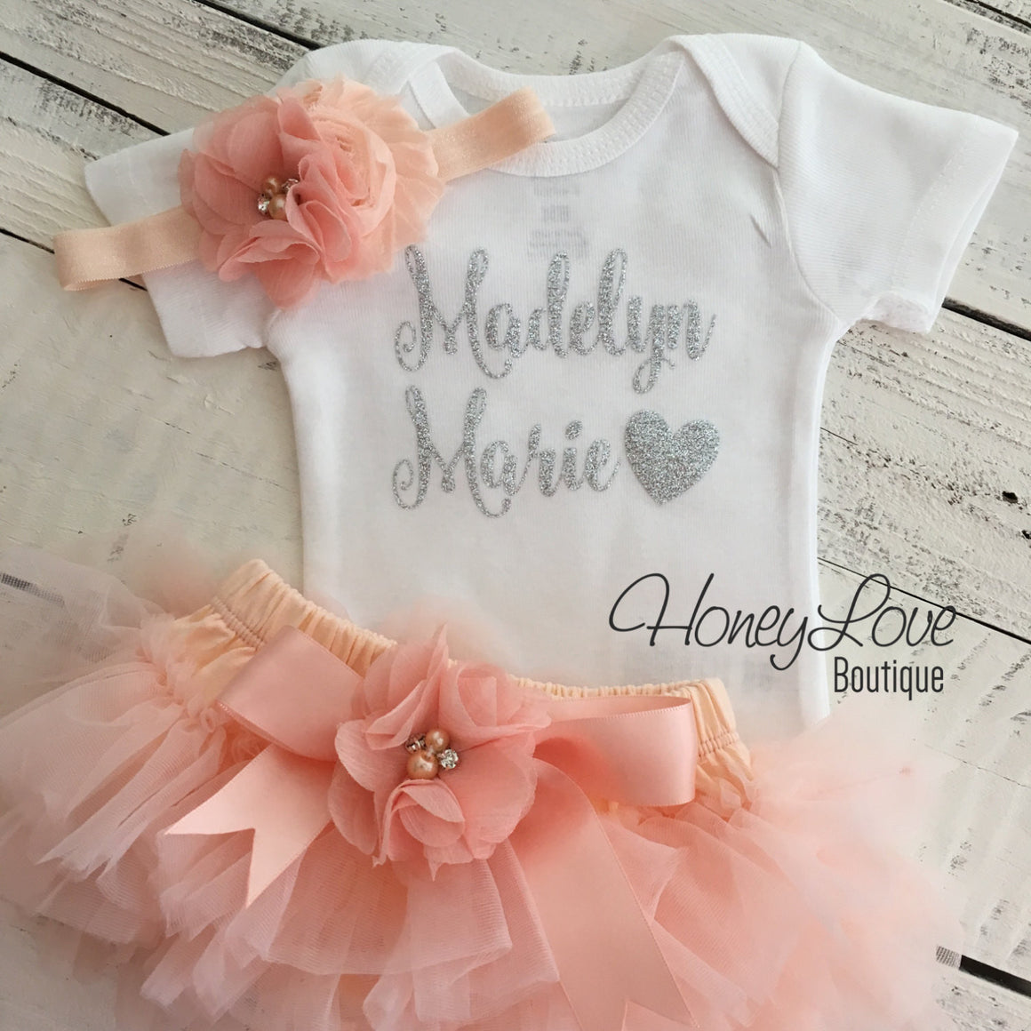 PERSONALIZED Name Outfit - Silver Glitter and Peach - embellished tutu skirt bloomers - HoneyLoveBoutique