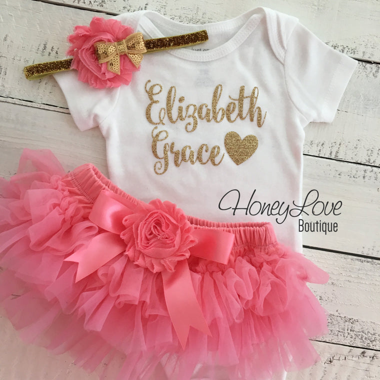 PERSONALIZED Name Outfit - Gold Glitter and Coral Pink - embellished tutu skirt bloomer