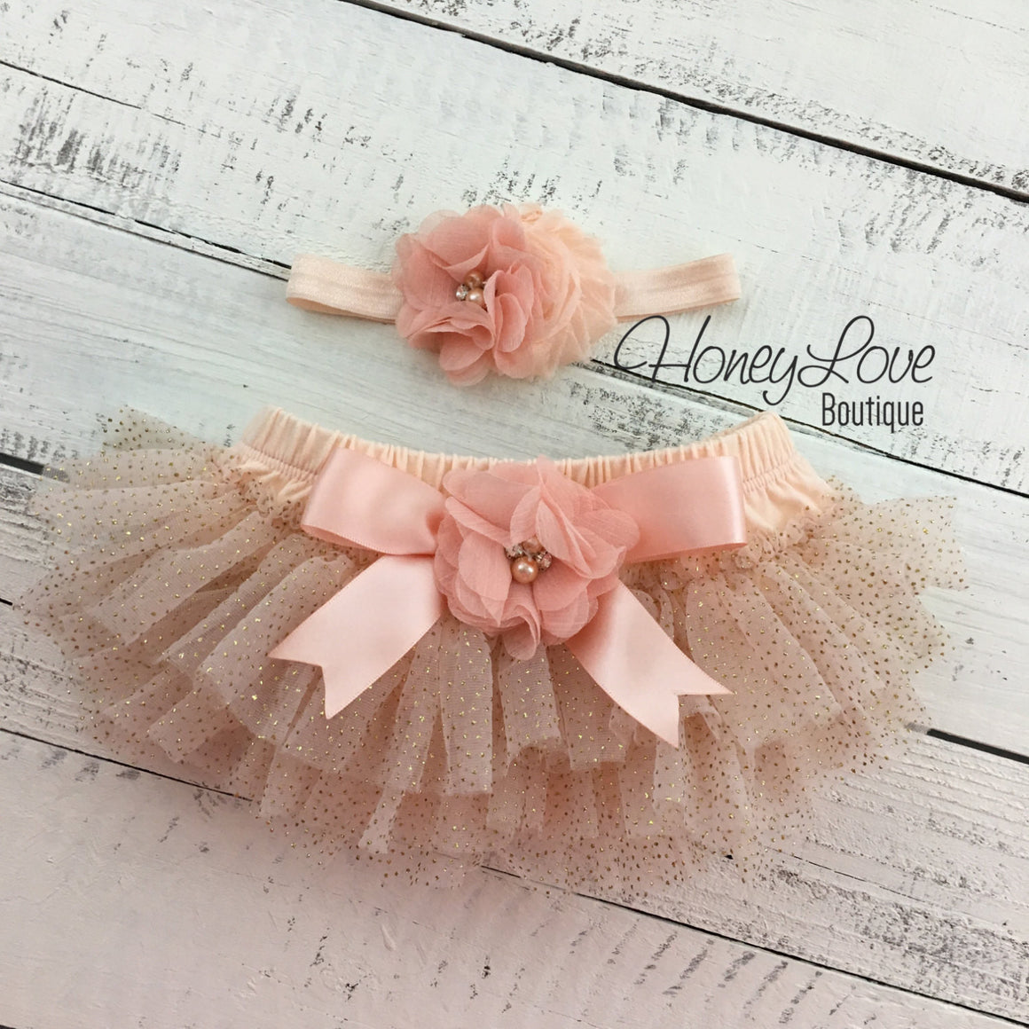 PERSONALIZED Name Outfit - Peach and Gold Glitter - embellished bloomer - HoneyLoveBoutique