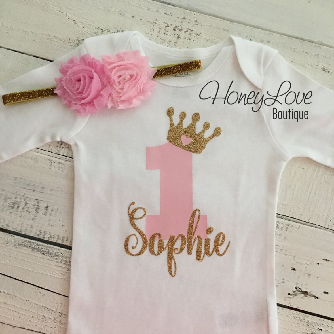 Personalized 1st Birthday Princess outfit - Gold Glitter and Light Pink - embellished pettiskirt - HoneyLoveBoutique