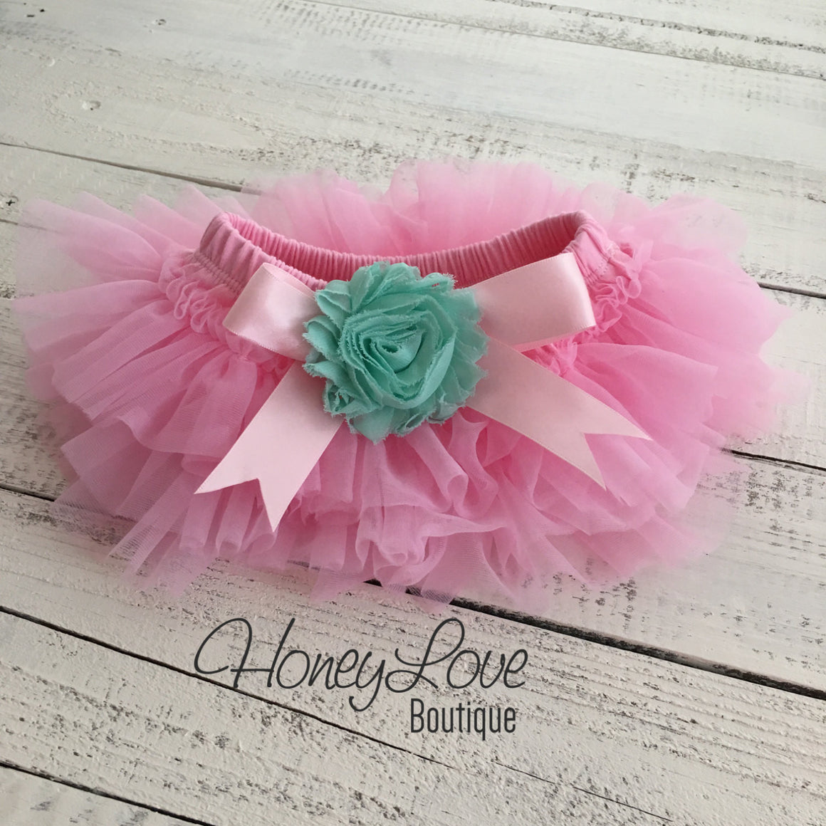 PERSONALIZED Name Outfit - Light Pink and Silver Glitter - Mint/Aqua flower embellished tutu skirt bloomers - HoneyLoveBoutique