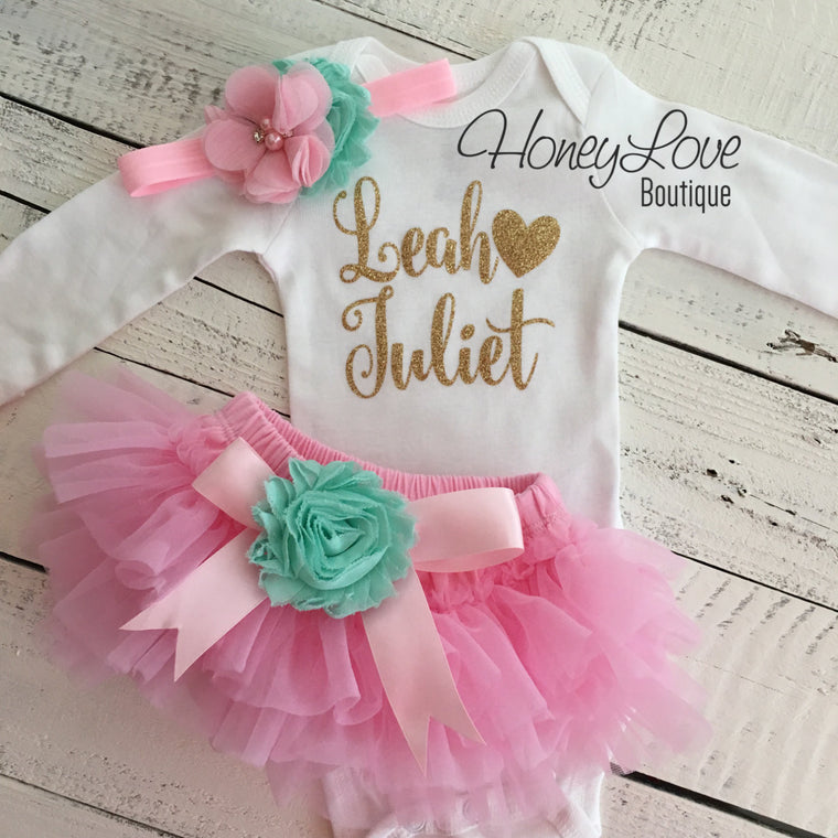 PERSONALIZED Light Pink and Gold Glitter - Mint/Aqua flower embellished tutu skirt bloomers