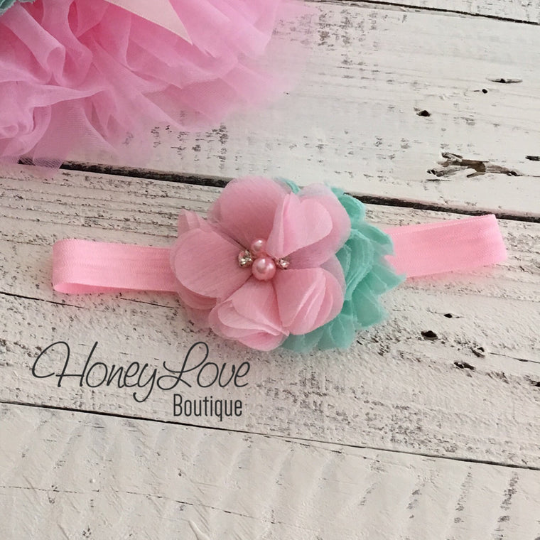 Light Pink and Mint/Aqua flower headband - HoneyLoveBoutique