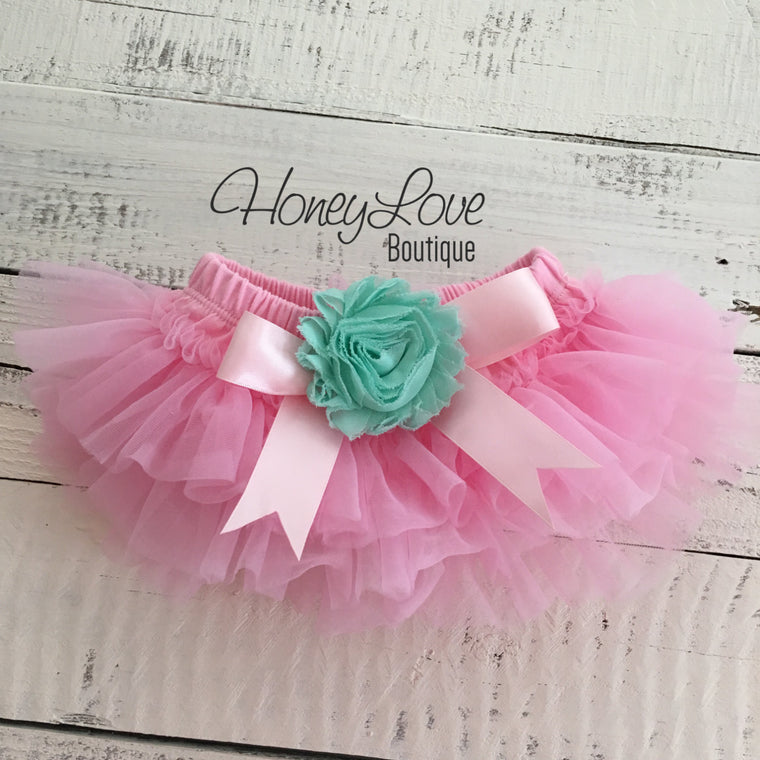 Light Pink and Mint/Aqua Embellished tutu skirt bloomers - HoneyLoveBoutique