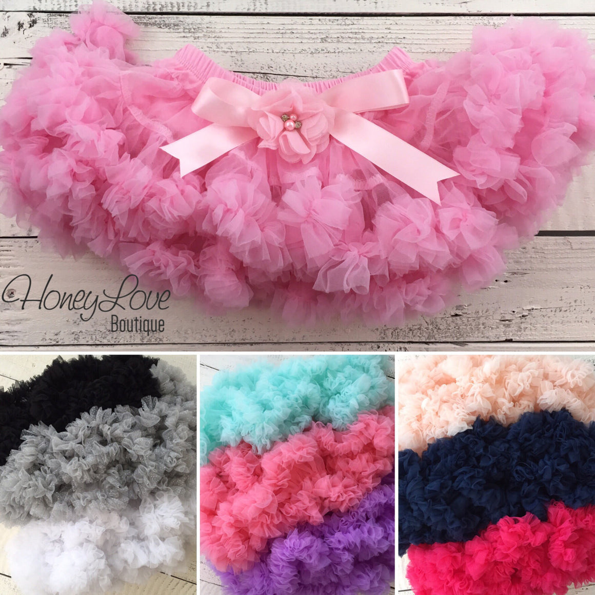 Pettiskirt - 18 COLORS! - embellished flower and satin bow