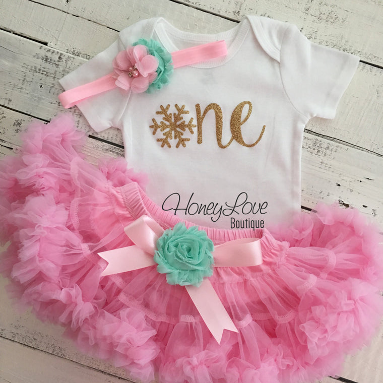 Winter ONEderland 1st Birthday outfit - Light Pink, Mint/Aqua and Gold glitter - HoneyLoveBoutique