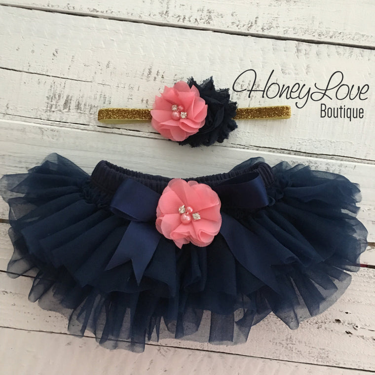 Navy Blue tutu skirt bloomers - embellished Coral pink rhinestone/pearl flower - with matching headband - HoneyLoveBoutique