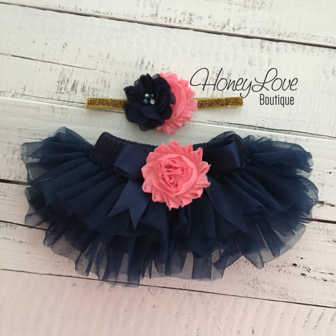 Navy Blue tutu skirt bloomers - embellished Coral shabby flower - with matching headband