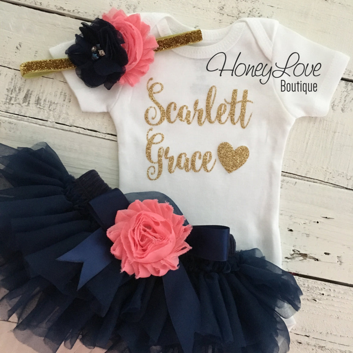 PERSONALIZED Navy Blue and Gold Glitter - Coral pink shabby flower embellished tutu skirt bloomers - HoneyLoveBoutique