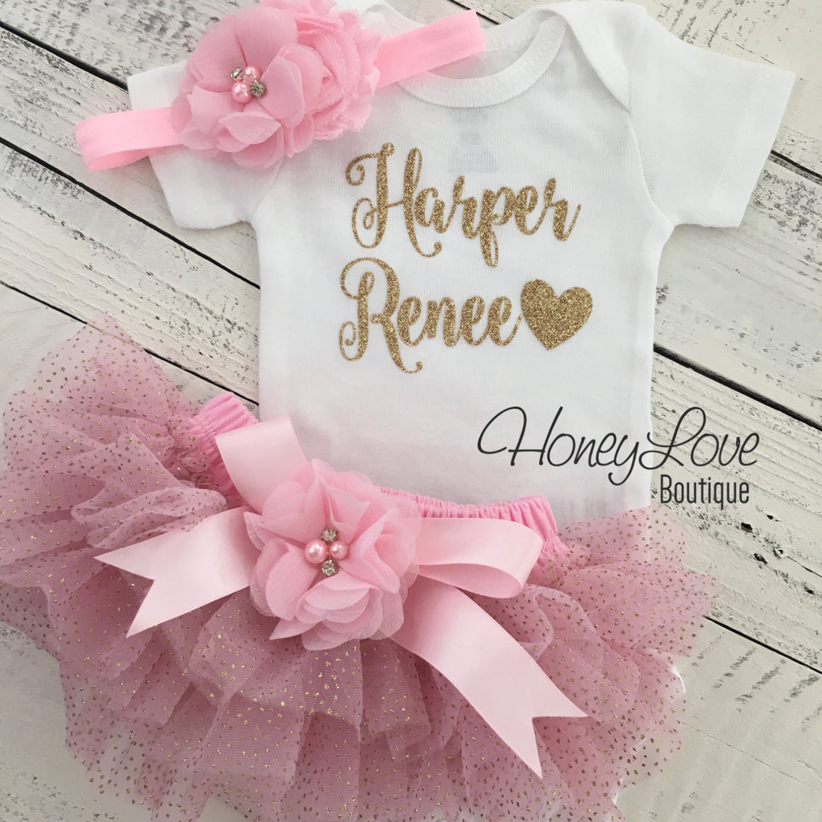 PERSONALIZED Name Outfit - Light Pink and Gold Glitter - embellished tutu skirt bloomers - HoneyLoveBoutique
