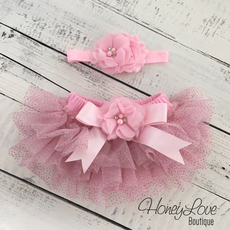 Light Pink with gold glitter embellished tutu skirt bloomers and matching headband